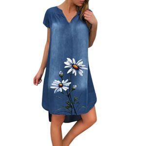 Mode Damen Casual Printed V-Ausschnitt Kurzarm Knielanges Jeanskleid Größe:L,Farbe:Weiß