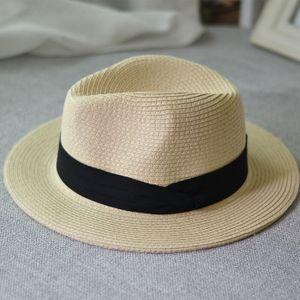 Sommer unisex Sonnenhut lässig Urlaub Panama Strohhut breiten Strand Hüte Krempe -(3,55-58cm)