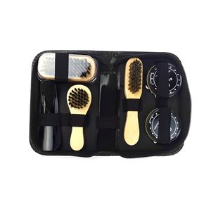 8PCS Shoe Shine Care Kit Schwarz und Neutral Polish Brushes fuer Stiefel Schuhe Sneakers Style 1
