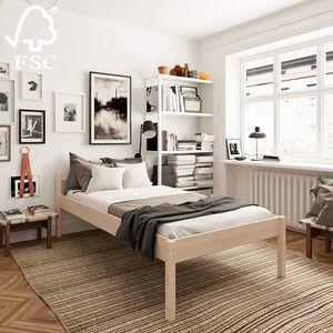 Seniorenbett 100x200 Holzbett 55 cm Triin Hoch mit Kopfteil - 350 kg Stabiles Einzelbett für Senioren - Unbehandeltes es Birken Massivholz - Gästebett