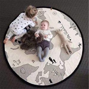 Kinderteppich Baumwolle Groß Spielmatte Baby Krabbelmatte Runde Kinderzimmereppich für Schlafzimmer Baby Teppich Weich Flauschig Babyzimmer Jungen 135cm