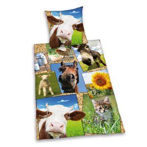 Bauernhof Tiere Bettwäsche Hund Katze Pferd 80x80 + 135x200cm Baumwolle mit Reißverschluss