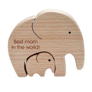 Elefant Mutter und Kind Holz Ornament Desktop Tischdekoration Geschenk für Frau Tochter Tochter Oma Mutter(Best Mom in The World)