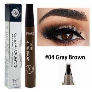 Augenbrauenstift Tattoo Stift 4 Köpfe (!) Microblading Gabelspitze Farbe GRAY BROWN