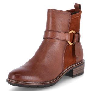 Tamaris Damen Elegante Stiefelette 1-25327-27 Braun 305 Cognac Leder und Textil mit TOUCH-IT & ANTI-Slide Absatz, Groesse:37 EU