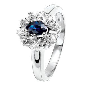 Weißgoldener Ring mit Diamanten und Saphir -  53