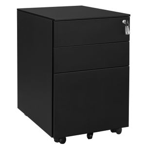 SONGMICS Stahl Rollcontainer mit 3 Schubladen 5Rollen 60 x 52 x 39 cm abschließbarer Büroschrank Hängeregistratur mit Schrankkorpus Vormontiert schwarz OFC60BK