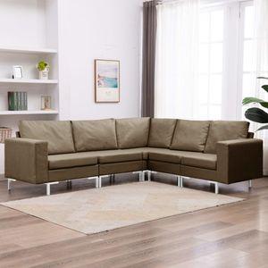 5-tlg. Sofagarnitur Stoff Braun Wohnlandschaft-Sofa Relaxsofa für Wohnzimmer Schlafzimmer Esszimmer