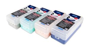 4x Lernbox / Karteikasten / DIN A8 / je 1x blau, grün, rosa und grau