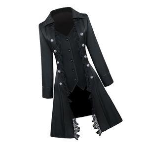 Retro Damen Steampunk Gothic Mantel Mittelalter Jacke Cosplay Kostüm L Schwarz L.