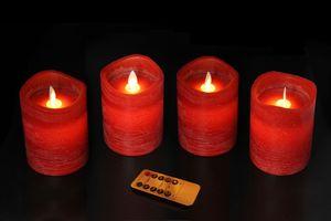 LED Echtwachs Kerzenset rot, 4 Kerzen, 7,5x10cm mit Timer und Flacker-Dimmerfunktion