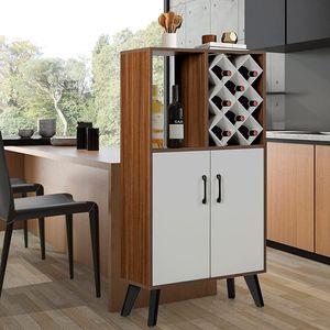 GOPLUS Weinschrank mit 8 Weinfächern, Buffet Sideb oard aus Holz, Beistellschrank mit Weinregal, mit offenem Regal & Türen, Beine aus Massivholz, Aufwahrungschrank für Küche Esszimmer Wohnzimmer