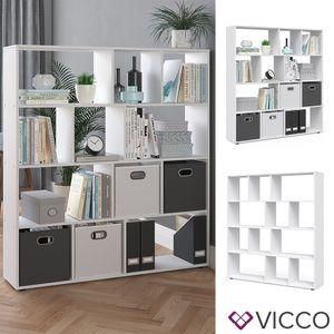 Vicco Raumteiler Pilar 12 Fächer Weiß - Raumtrenner Bücherregal Standregal