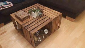 4 Stück Set geflammte Weinkisten Obstkisten Dekoration Couchtisch Apfelkisten Holzkiste