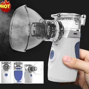 Tragbarer Ultraschall Mesh Vaporizer Vernebler Luftbefeuchter Cooles Sprühgerät Kit Mini Inhalator Kinder Erwachsene Asthma Vernebler Nano Respirator Set für zu Hause und unterwegs Blau