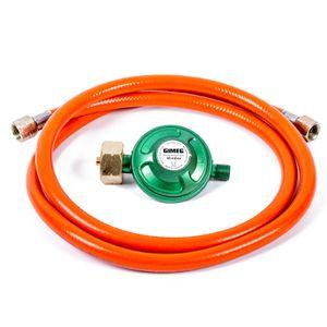 Gasdruckregler 50 mbar mit 1,5 Meter Schlauch und Schraubanschlüssen