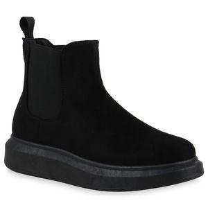 Mytrendshoe Damen Stiefeletten Chelsea Boots Keilabsatz Schuhe 835560, Farbe: Schwarz Velours, Größe: 41