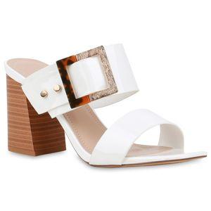 Mytrendshoe Damen Sandaletten Pantoletten Blockabsatz Mules High Heels 833314, Farbe: Weiß, Größe: 39