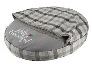 """Nobby Komfort Kissen rund """"CAMPO"""" mit Kuscheldecke grau Ø 75 cm, 60767"""