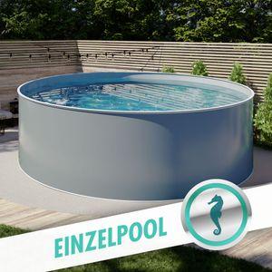 Design-Pool rund, Ø 4,00 x 1,20 m, Stahlmantel anthrazit, Folie grau, Handlauf STYLE