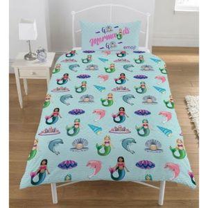 Emoji Einhorn Und Meerjungfrauen Wende-Bettwäsche-Set SI361 (Einzelbett) (Bunt)