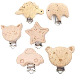 Schnullerclip aus Holz - 6PCS Befestigungsclip - zum Befestigen von Schnullern, Spielzeug, Taschentüchern usw.