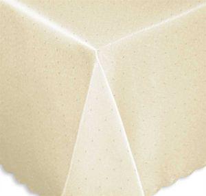 Tischdecke 130x260 cm creme eckig Mitteldecke Punkte bügelfrei fleckenabweisend