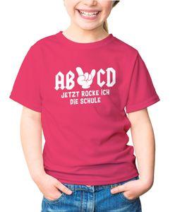 Kinder T-Shirt Mädchen Jetzt rocke ich die Schule Comichand AB/CD Geschenk zur Einschulung Schulanfang Moonworks® pink 122-128 (7-8 Jahre)