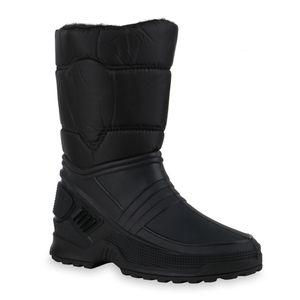 Mytrendshoe Damen Stiefel Warm Gefütterte Winterstiefel Gesteppt Schlupf-Schuh 836020, Farbe: Schwarz, Größe: 39