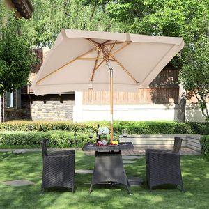 SONGMICS Sonnenschirm 200 × 125 cm | UV-Schutz UPF 50+ | Holzstange Marktschirm Gartenschirm Sonnenschutz ohne Ständer Terrassenschirm Taupe GPU26BR