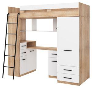 Hochbett SMYK L Etagenbett Schlafzimmer-Sets Schreibtisch Kleiderschrank Regal Sonoma Eiche Weiß