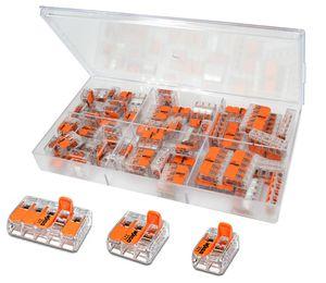 WAGO Sortimentsbox mit 60 Stück Verbindungsklemmen   Serie 221 Hebelklemme   Box Set Verbindungsklemme