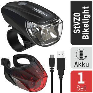 ANSMANN Fahrradlicht Set Akku StVZO zugelassen, Front- und Rücklicht