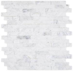 selbstklebende Verbund Mosaikstäbchen Naturstein weiss mit Carrara Fliesenspiegel Küche Wand Optik MOS200-M22