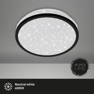 LED Deckenleuchte Sternendekor 10W Weiß-Schwarz Ø21,7cm Briloner Leuchten