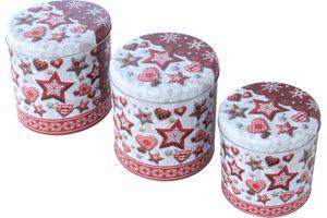 3er Set Gebäckdosen Rund in 3 Größen Weihnachtsmotiv Rot