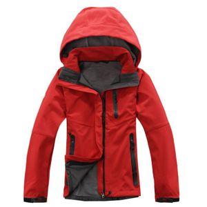 Sport & Outdoor Frauen Einfarbige wasserdichte Kapuzenjacken Zip Climbing Coat Größe:M,Farbe:Rot