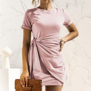 Mode Frauen einfarbiges Kleid O-Ausschnitt Kurzarm Bandage Casual Minikleid,Rosa-M