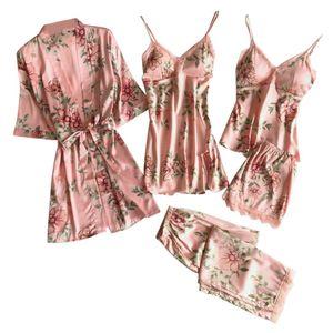 5PC y Spitze Satin Robe Bademantel Hose Shorts Dessous Set Pyjama Nachtwäsche Kleidung Nachtwäsche Schlafanzüge Rosa M