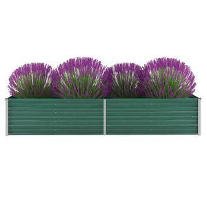 Garten-Hochbeet Verzinkter Stahl 240x80x45 cm Grün -Pflanzbeet ,Blumenkasten ,Frühbeet