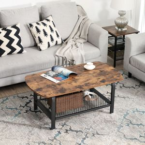 VASAGLE Couchtisch Metallgestell Holzoptik 110 x 45 x 60 cm Gitterablage für mehr Stauraum stabil Vintage LCT10X