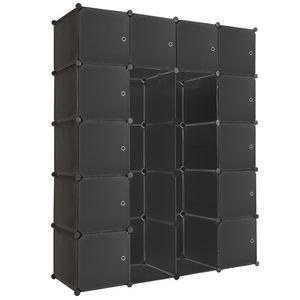 tectake Steckregal 12 Boxen mit Türen inkl. Kleiderstangen - schwarz