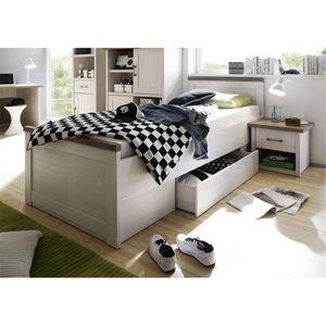 Einzelbett LUND-78, Landhaus Design, in Pinie weiß Nb./Trüffel Eiche Nb., B/H/T: ca. 96/58/205 cm