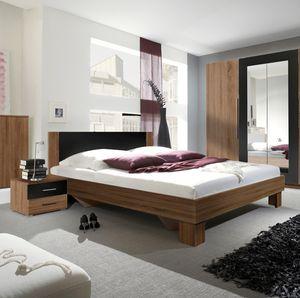 Schlafzimmer Set Doppelbett 160x200cm mit 2 Nachtkonsolen kernnuss rot / schwarz