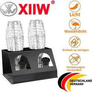 XIIW® Premium 2er Abtropfhalter aus Alu mit Abtropfwanne - für SodaStream und Emil Flaschen |