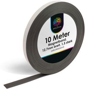 OfficeTree ® Magnetband - 10 m - selbstklebend für sichere Magnetisierung von Plakaten Fotos Papier - extra starke Haftkraft an Whiteboard Magnet-Tafel Pinnwand - schwarz