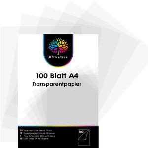 OfficeTree 100 Blatt Transparent-Papier DIN A4 - 100 g/qm