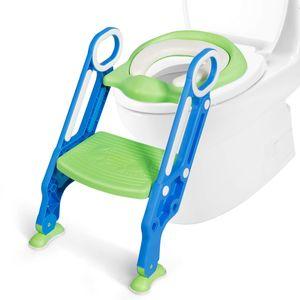 COSTWAY Kinder Toilettensitz h?henverstellbar, Kindertoilette faltbar, Toilettentrainer mit Leiter und Griffe, T?pfchentrainer zum Toilettentraining für Kleinkinder von 1 bis 5 Jahre (Blau + Grün)