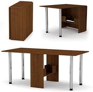 Esstisch ausklappbar - platzsparend - Klapptisch - Bürotisch - klappbar -Nussbaum Farbe-374