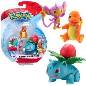 Auswahl Battle Figuren | 3er Set | Pokemon | Action Spielfiguren zum Sammeln, Spielfigur:Bisaknosp. Glumanda & Griffel